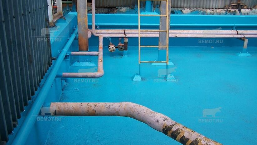 Химстойкое напыляемое покрытие бетонного приямка