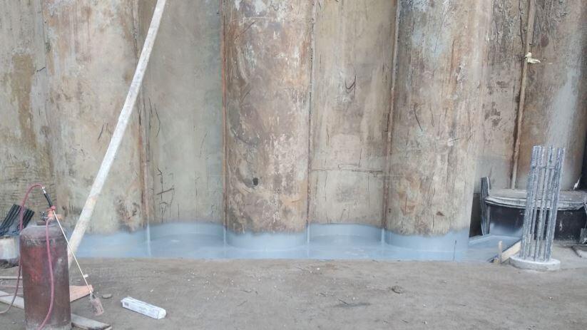 Гидроизоляция примыкания шпунта с бетоном напылением ПМ