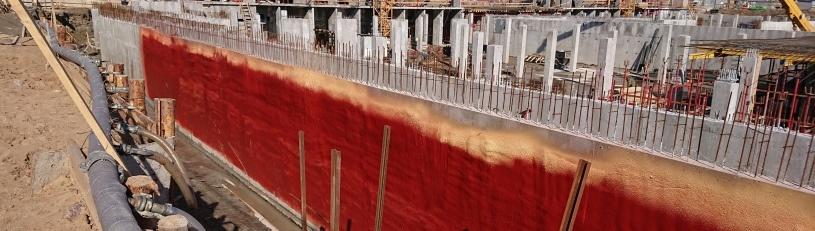 Гидроизоляция наружной заглубленной стены подземного паркинга